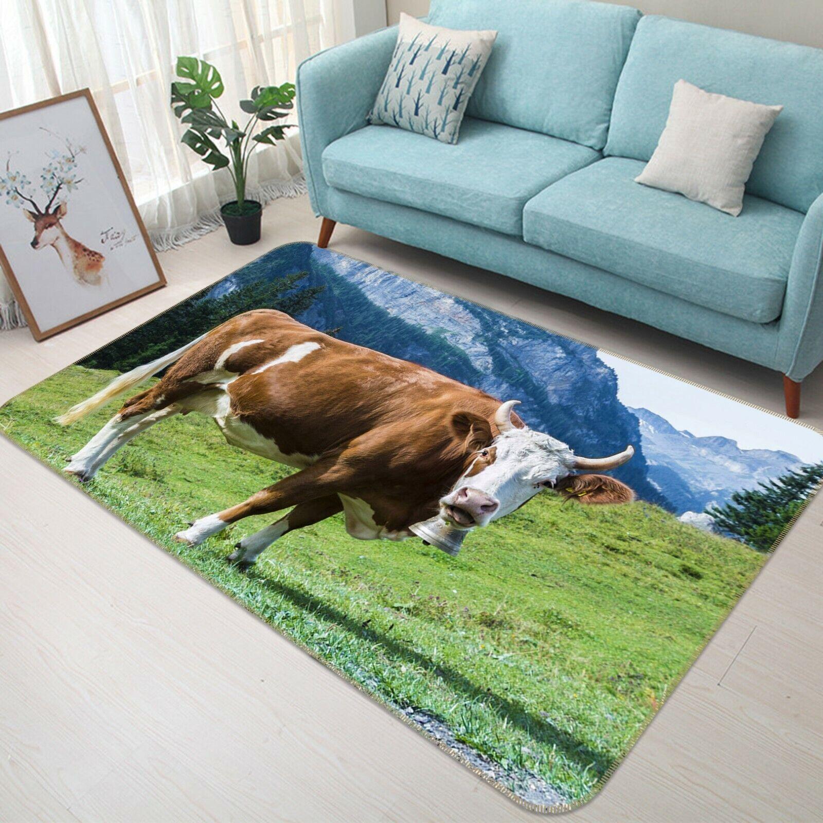 3D BOVINI Prairie C044 Animale tappetino antiscivolo tappeto rossoondo elegante Tappeto Wendy