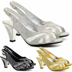 Attractive Image Is Loading New Womens Low Mid Kitten Heel Diamante Sandals