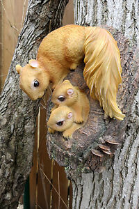 Garden Tree Knot Squirrel Mom with Babies Resin Yard Ornament 9 in. x 6 in.