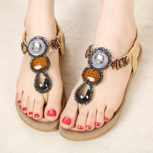 Women New Summer Bohemia Flip Flops Lady Flat Sandals Beach Thong Shoes US 12-14