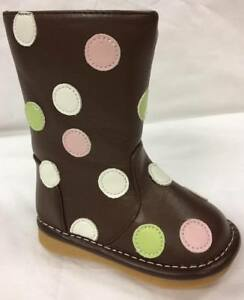 Discontinued Toddler Girl/'s Leather Squeaky Shoes Teal with Brown Dots 1 and 2