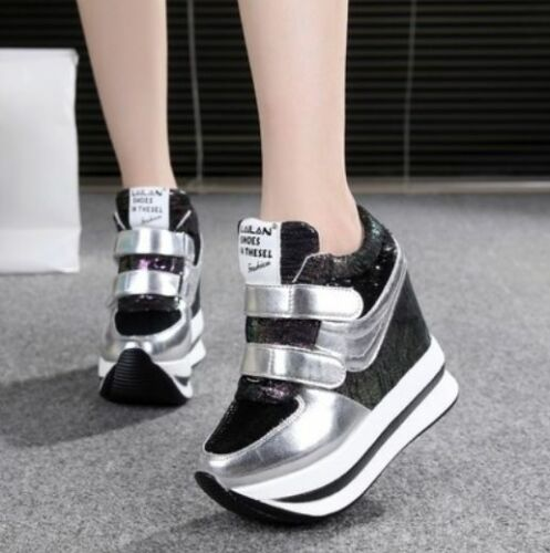 Athletics Lace Up Creepers Hidden wedge Heels  Womens Shoes Sneakers Platform