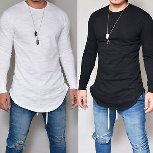 fe228b04f0f86 Fashion Men s Slim Fit V Neck Long Sleeve Muscle Tee T-shirt Casual ...