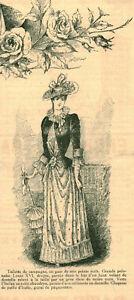 Gravure ancienne 1889 toilette de campagne dessin de G. de Billy issue du livre