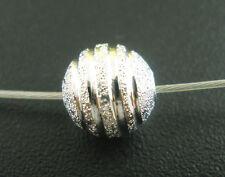 10x Metallperlen Spacer beads versilbert rund stardust 8 mm NEU