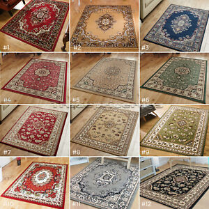 Traditional Rugs Blue Dark Red