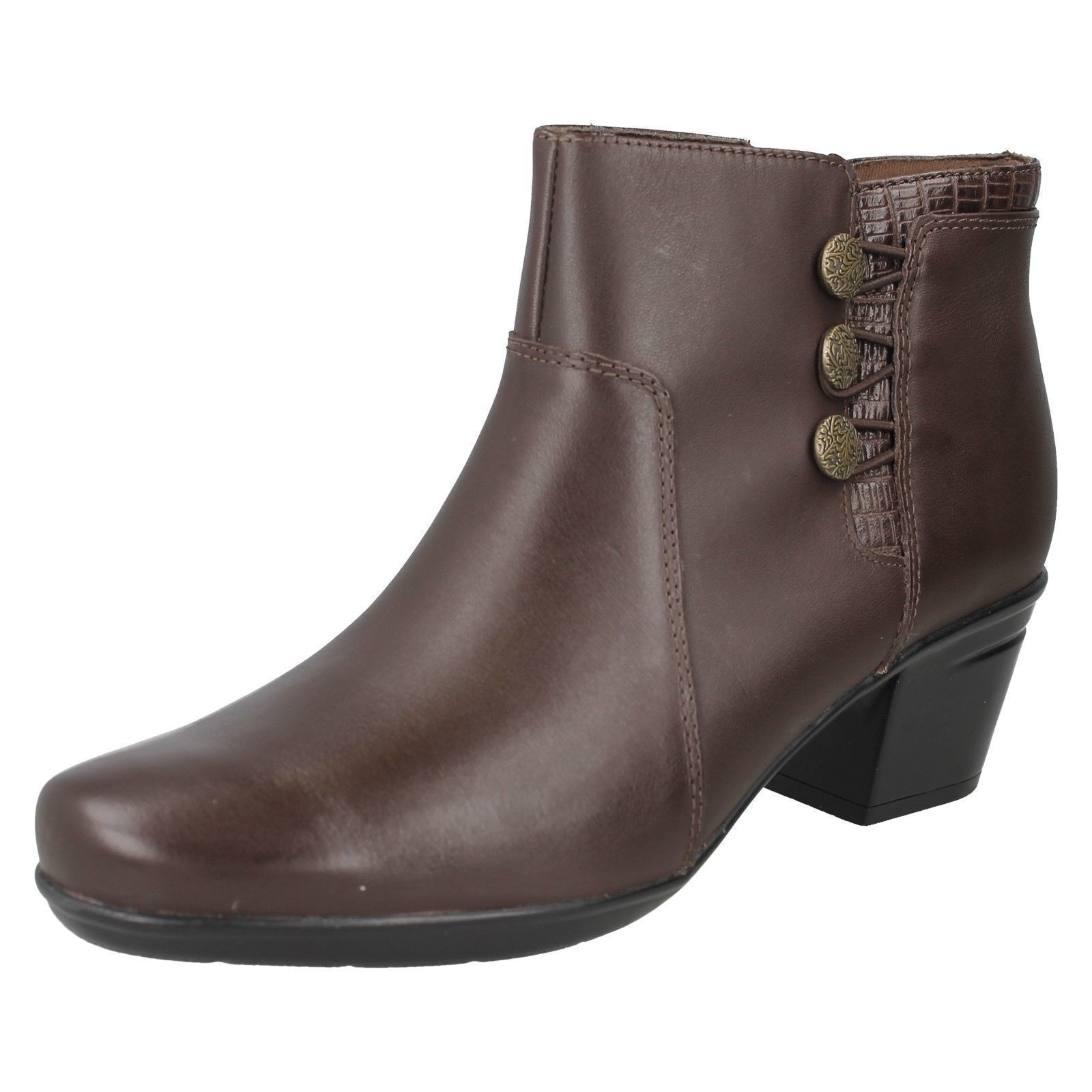Ladies Clarks Emslie Monet Brown  Ankle Boots E-Fit Brown