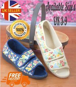 Ladies Floral Canvas Peep Toe Shoes