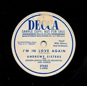 ANDREWS-SISTERS-on-V-1951-Decca-27635-Promo-I-m-in-Love-Again