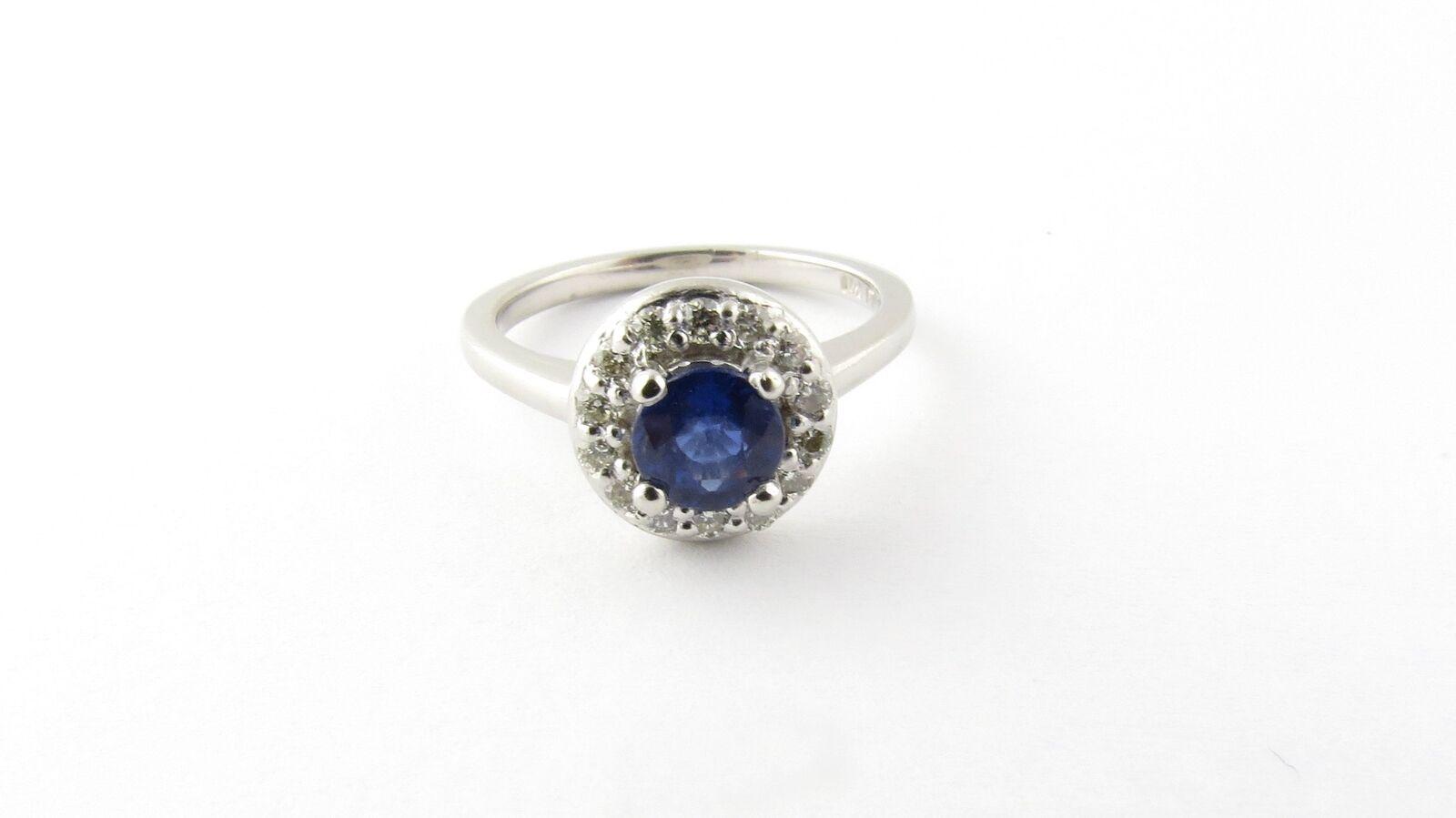 Vintage Platinum Sapphire and Diamond Ring 4.5