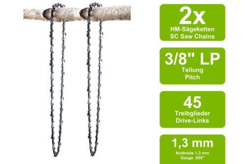2 Sägeketten passend für Max Bahr KSH600 Hochentaster30cm 3//8LP 45TG 1,3mm