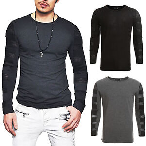 7916949c154 Mens Cotton Long Sleeve T Shirt Casual Plain Tee Sport Muscle Tops ...