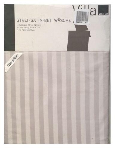 Villa Noblesse Streifsatin Bettwäsche Set Silber 155 x 220 cm
