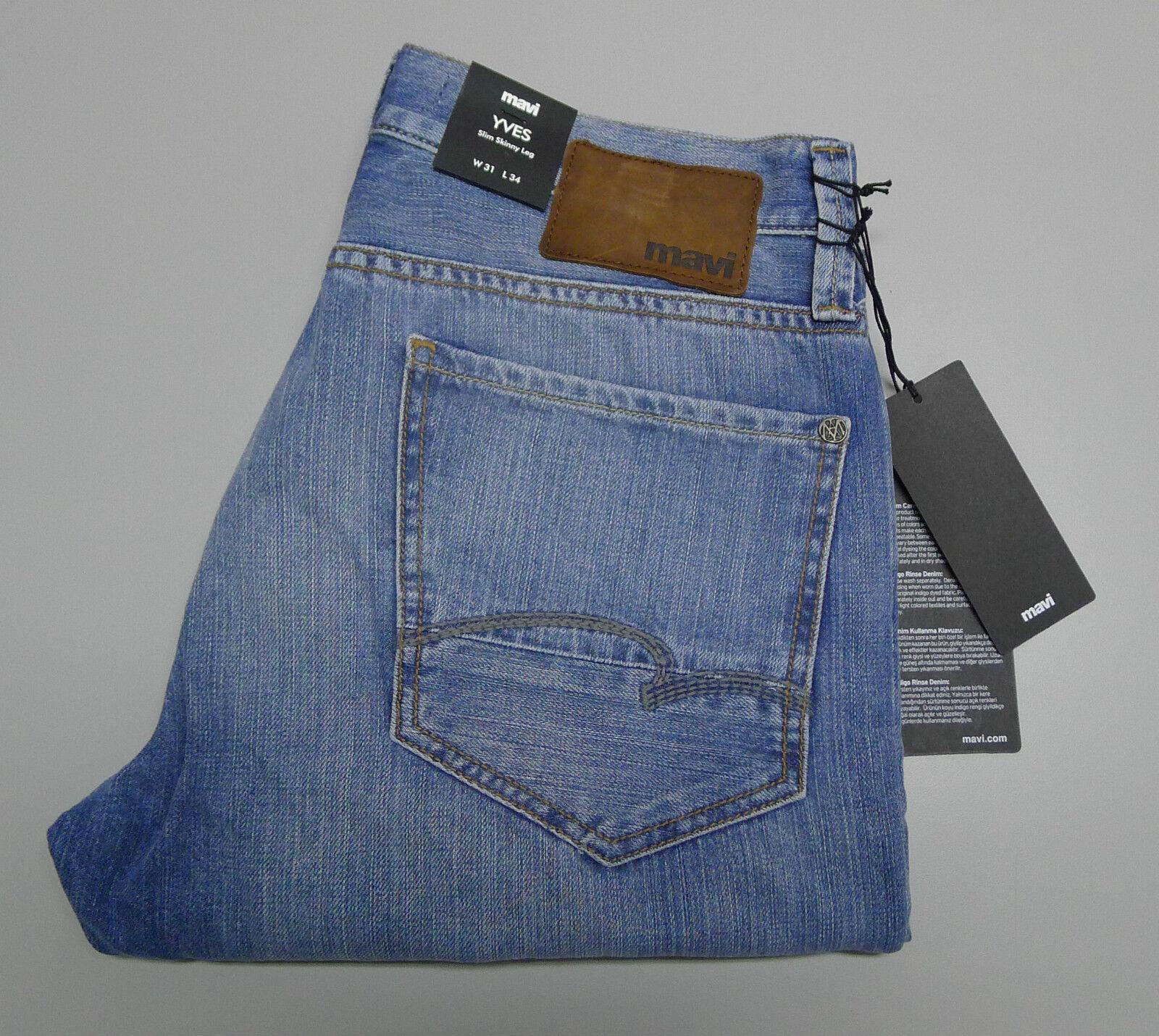 NEW MAVI Co. YVES W-31 L-34 Slim Skinny Leg Light bluee Berlin Denim Men's Jeans