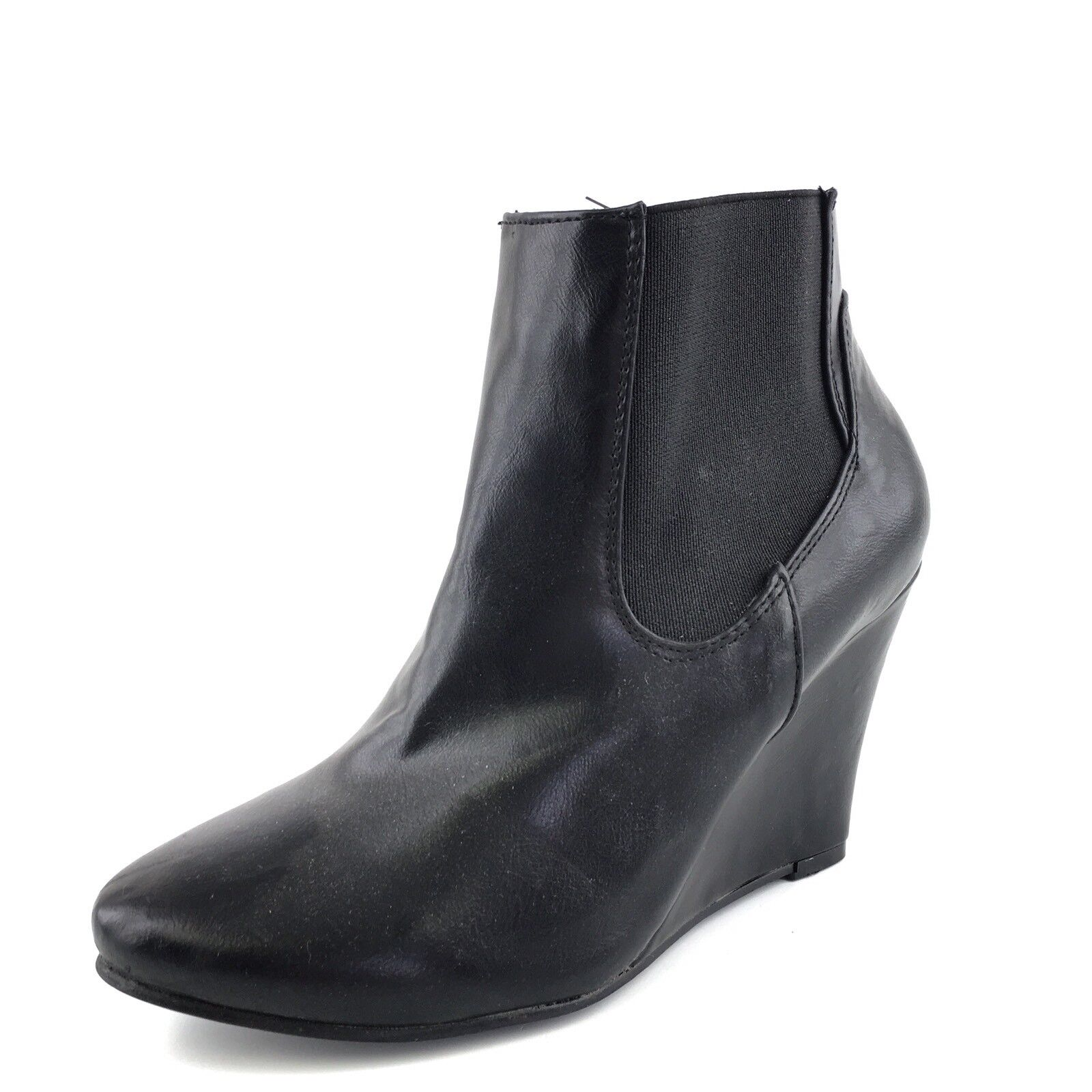 New AXNY Black Leather Wedge Chelsea Ankle Boots Women's Size 8.5 M