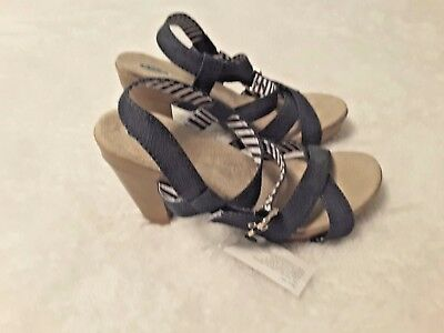 M Dark Womens 5 New 425 Heels Sandals Denim DrScholl's Size 7 Band kwOiTlPXZu