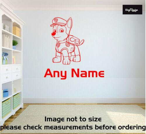 PAW PATROL CHASE PERSONALISED WALL STICKER children/'s bedroom decal art graphic
