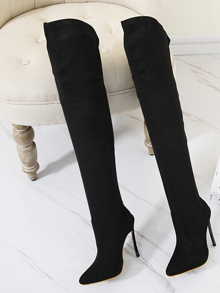Women Suede Pointed Toe Over Knee Stretch Riding Boots High Heels Stilettos