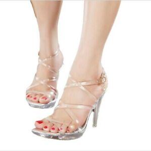 ladies wedding party cross strappy peep toe stilettos high