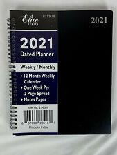 2021 Weekly PLANNER BLACK 8x10 Calendar Organizer Elite Appointment Book