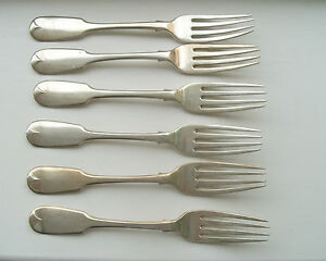 Set-6-H-M-Silver-forks-Exeter-1842-by-Robert-Williams-weigh-314-grammes