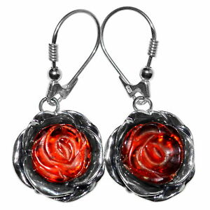 7-42g-Authentic-Baltic-Amber-925-Sterling-Silver-Earrings-Jewelry-N-A8408