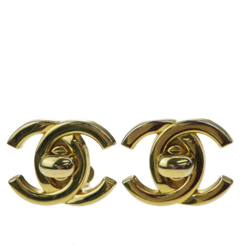 Authentic CHANEL CC Logo Earrings Gold-tone Clip-O