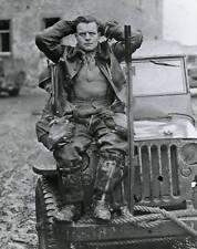 WWII B&W Photo German Luftwaffe Pilot POW on Jeep  WW2 World War Two / 2038