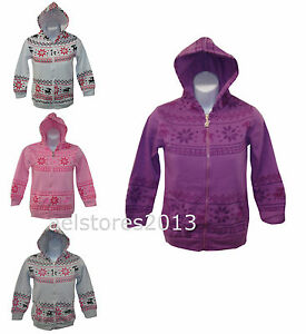 New-Girls-Hoodie-Aztec-Reindeer-Print-White-Grey-Pink-Purple-Age-3-14-years