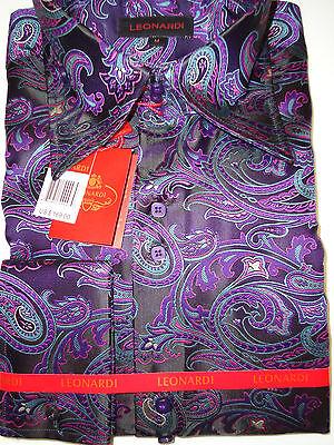 High Fashion 3-Button Collar Black & Purple Paisley F/C Shirt Leonardi Designer
