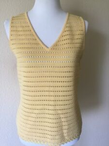Vintage-St-John-Collection-by-Marie-Gray-size-S-Yellow-Santana-Knit-Top-V-Neck