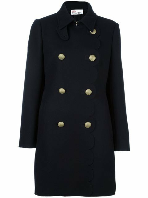 röd VALENTINO Double Breast Wool Blend Coat, 42 US 8 Navy  770