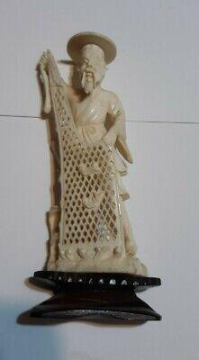 Vintage Antique Bovine Bone Hand Carved Chinese Fisherman Figurine 5 X 2 Inc Ebay