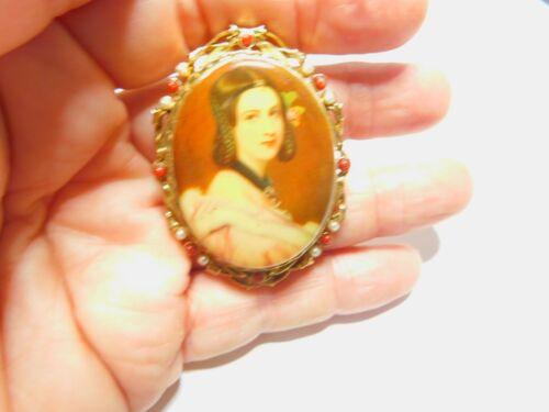 Signed ART Ornate Faux Pearl Carnelian Oval Lady … - image 1