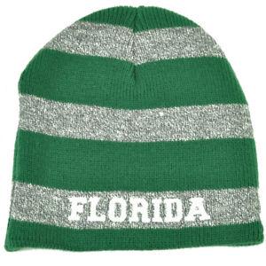 Reliable Florida Sunshine State Blue Gray Striped Knit Beanie Cuffless Hat Beaches Usa Other Baseball & Softball