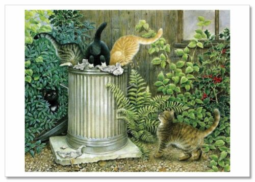 CAT Kittens got into the garbage can Garden by Ivory NEW Russian Postcard