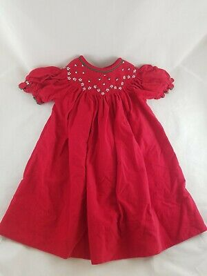 New red holiday santa boutique 1m Christmas Smocked trees bishop dress 8
