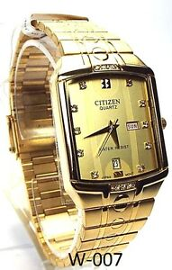 New citizen man day date window gold tone dress watch ebay for Dovoda watches