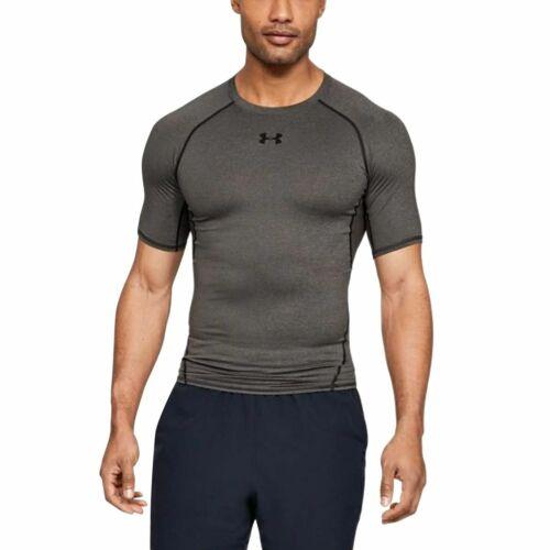 Men/'s Carbon Under Armour HeatGear Armour Compression Short-Sleeve Shirt