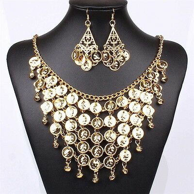 Gold Beautiful Earrings And Gold Chain With Small Bell Bling Necklace Set
