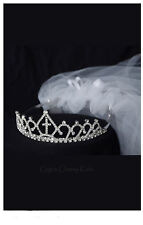 New Girls Rhinestone Crown First Communion Veil Headpiece Baptism Christening 6