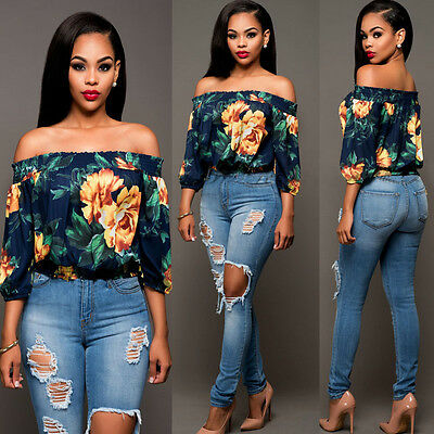 Fashion Women Summer Off Shoulder Casual Short Sleeve Floral T-Shirt Top Blouse