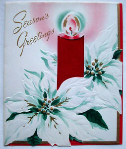 Cloth red candle white poinsettia Christmas vintage ...