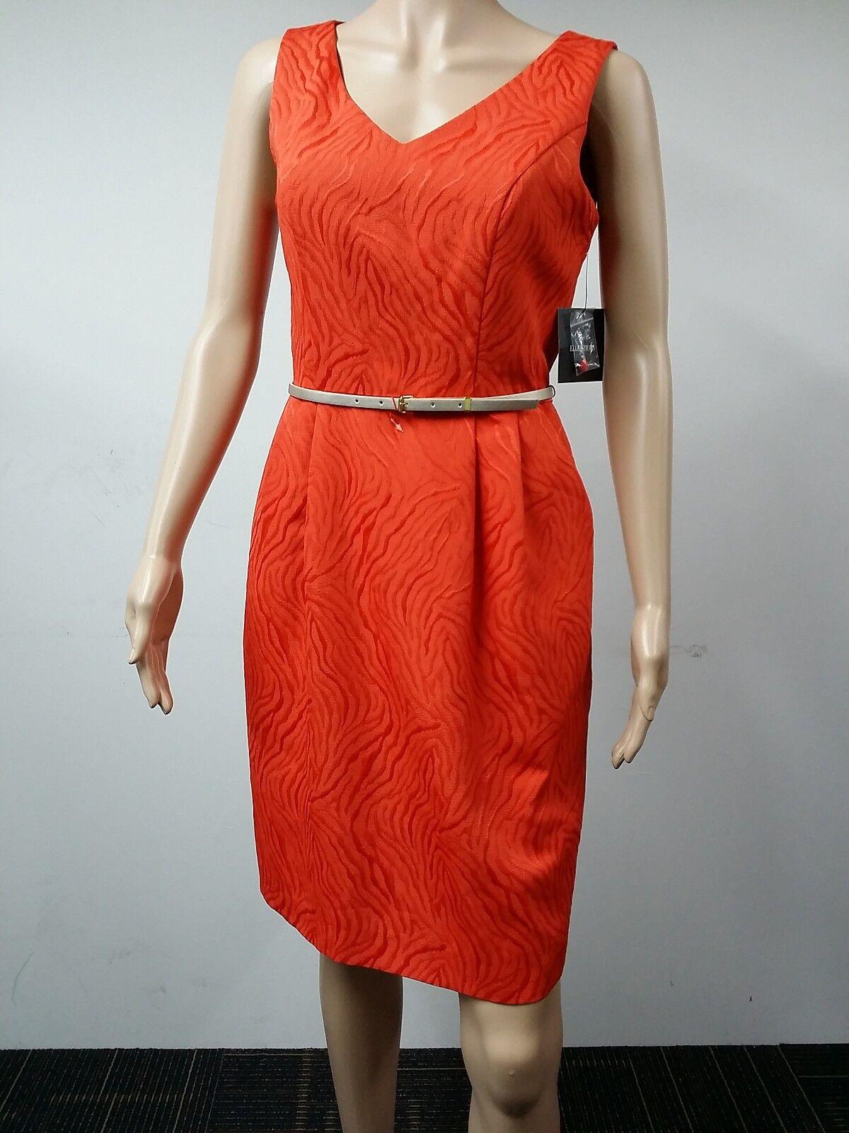 nouveau - Ellen Tracy - Taille 6 - Sleeveless Texturouge Belted Robe - Orange -  128