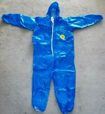 Dupont Tychem Cpf1 Blue Coverall Protective Suit Attached Hood Size Xl