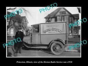 OLD-LARGE-HISTORIC-PHOTO-OF-PRINCETON-ILLINOIS-HORTON-RADIO-SERVICE-VAN-c1930