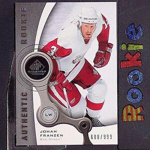 JOHAN-FRANZEN-999-RC-2005-06-SP-GU-Authentic-ROOKIE-145-Detroit-Red-Wings