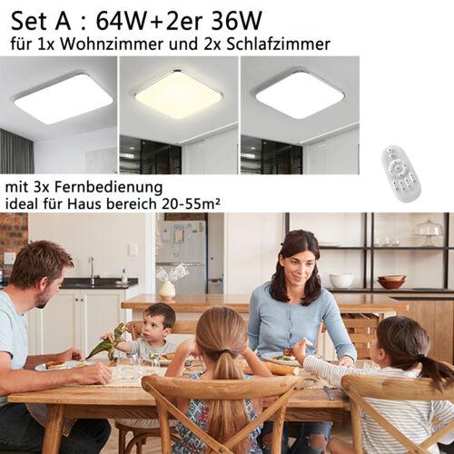 Deckenleuchte 12-128W Dimmbar LED Deckenlampe Rchteck Decken Lampe Schlafzimmer