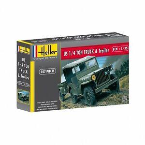 HELLER-JEEP-MODEL-KIT-HEL81105-Heller-1-35-Jeep-Willis-amp-Trailer