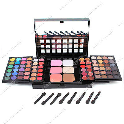 Makeup 78 EyeShadow Blush Lipgloss Palette Set + Mirror & Brushes Free Shipping